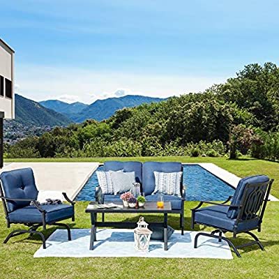 LOKATSE HOME 4 Pieces Outdoor Conversation Furniture Bistro Metal Seating Patio Armchairs Loveseat Set with Cushion & Coffee Table, 4 pcs Chair, Blue