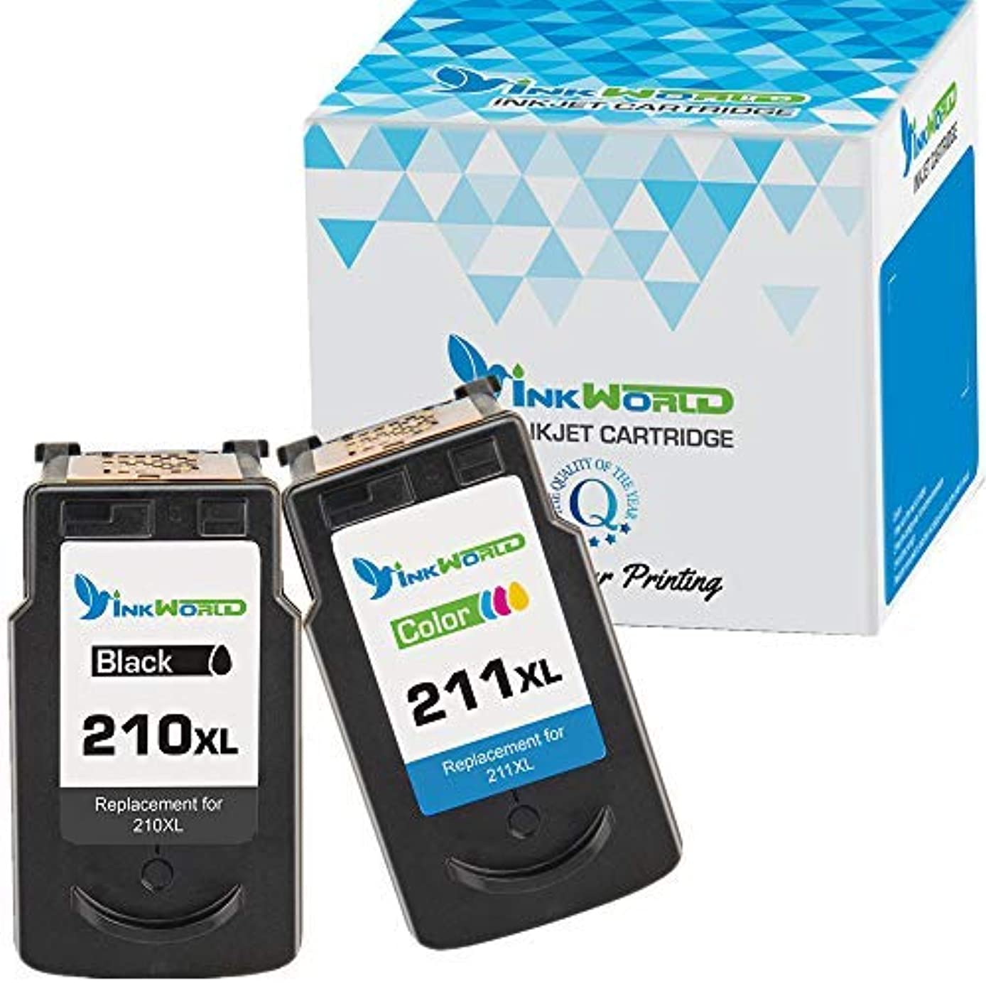 InkWorld Remanufactured Ink Cartridge Replacement PG-210XL CL-211XL (1 Black, 1 Color) for PIXMA IP2702 IP2700 MP230 MP240 MP250 MP270 MP280 MP460 MP480 MP490 MP495 MP499 MX320 MX330 MX340 MX420