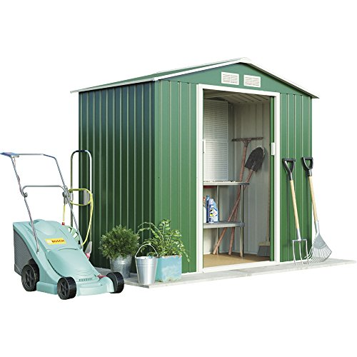 Metal Garden Shed Small Outdoor Storage 7 x 4.2 with Sliding Doors & Easy Access Ramp, Weatherproof Apex Roof by Waltons (Standard with Foundation Kit, Dark Green)