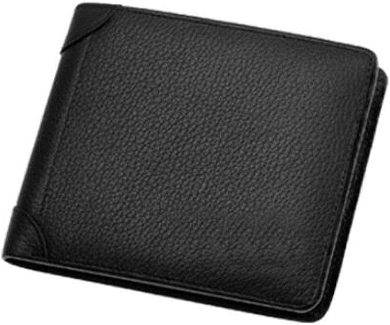 Wallet, Suitable for Men's Fashion Short Ultra-Thin Folding Travel Business Leather Wallet, color, Black, Size, (10  2  12) cm (color   Black)