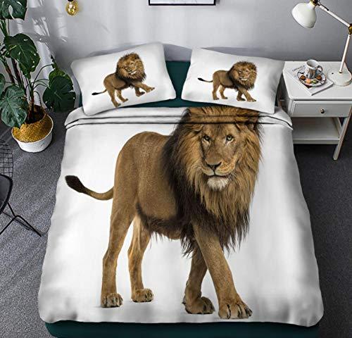YHHAW Duvet Cover Sets,3D grassland animal lion pattern Print,Soft Microfiber duvet sets pillowcase,3 Pieces (1 Duvet Cover + 2 Pillow cases) Bedding Sets-Double 200x200cm