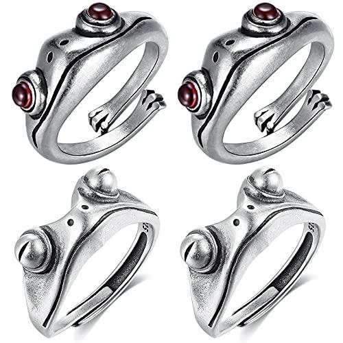 4 anillos abiertos de rana, retro, personalizables, góticos, ajustables, vintage, de plata 925, punk, con jade rojo granate, forma de animales, para hombre y mujer