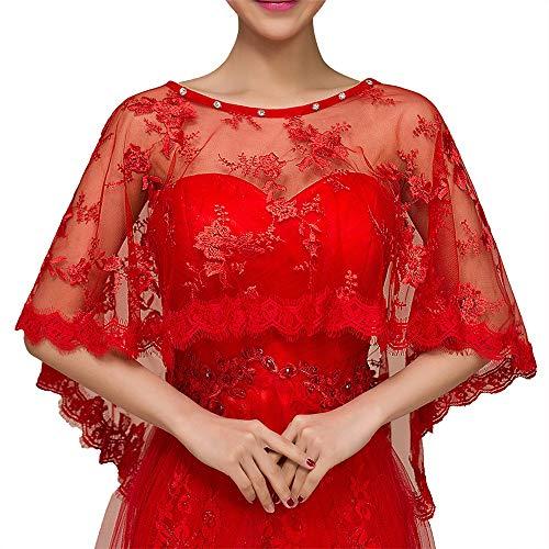 Tüll Umhang Capelet Frauen Brautkleider Brautstola Lace Bolero Bolero Shrug Schal Weiß (Color : Red, Size : Free Size)