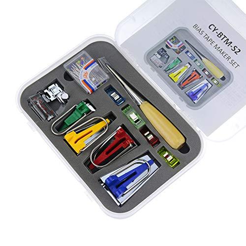 Bias Tape Maker Set, 6MM 12MM 18MM 25MM 4 Sizes DIY Fabric Bias Tape Maker Tools Sewing Machine Kit for Quilt Binding