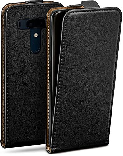 moex Flip Hülle für HTC U12 Plus Hülle klappbar, 360 Grad R&um Komplett-Schutz, Klapphülle aus Vegan Leder, Handytasche mit vertikaler Klappe, magnetisch - Schwarz