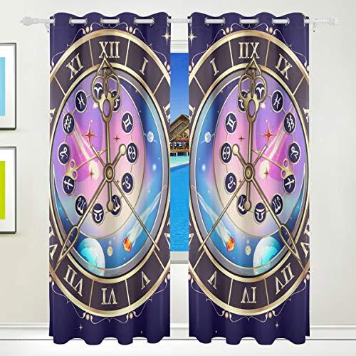 Ahomy Sternzeichen Astrologische Uhr Polyester Vorhänge Verdunkelungsvorhang Home Decor für Terrassenfenster Schiebetür Glas Tür 213,3 x 139,7 cm 2 Panels Set
