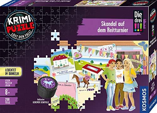 KOSMOS 680725 Krimi-Puzzle: Die drei !!! - Skandal auf dem Reitturnier, Leuchtet im Dunkeln, 200 Teile, Lesen - Puzzeln - Rätsel lösen, inklusive Geheim-Schatulle und exklusiver Kurz-Geschichte