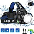 Headlamp Flashlight, USB Rechargeable Led Head Lamp, IPX4 Waterproof T004 Headlight with 4 Modes and Adjustable Headband, Perfect for Camping, Hiking, Outdoors, Hunting