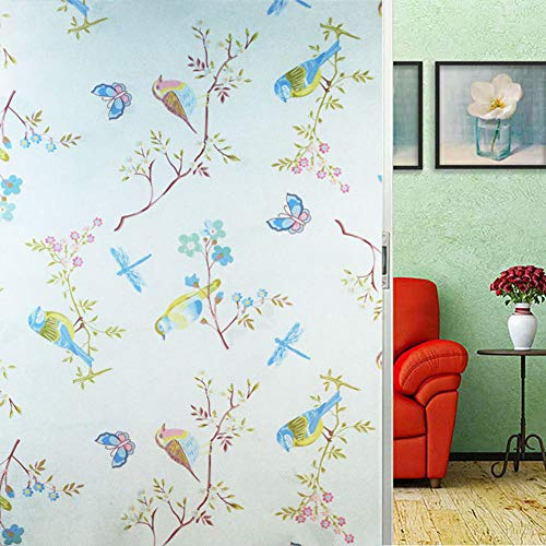 Raamsticker, vogel, vlinder, bloem, libelle dier, plant, kleurenscherm, plakvrije raamfolie, elektrostatische sticker, bescherming voor de badkamer, privacy, in huis, glasschilderij