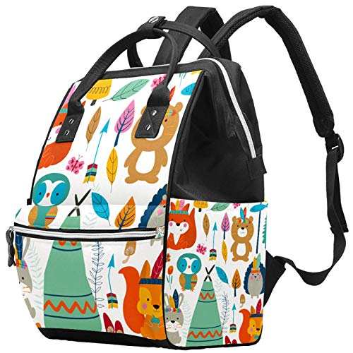 Mummy Changing Bag Backpack Vintage Retro Forest Animal Fox Owl Arrow Multi-Function Waterproof Diaper Travel Backpack for Baby Care