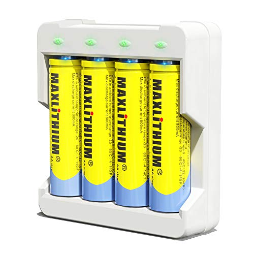 Wiederaufladbare AA-Batterien Lithium-Ionen, 1,5 V Konstantspannungsausgang Doppel-A-Batterie, 2800 mWh,4 Z?hlung mit Ladeger?t, Maxlithium