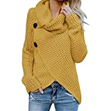 Jerseys De Punto para Mujer Cuello de Tortuga Manga Larga Suelto Prendas de Punto Suéter Irregular Jerséis Collar de la Pila Tops Cálido Otoño Invierno riou (Yellow, XL)