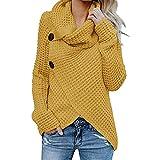 Jerseys De Punto para Mujer Cuello de Tortuga Manga Larga Suelto Prendas de Punto Suéter Irregular Jerséis Collar de la Pila Tops Cálido Otoño Invierno riou (Yellow, S)