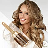 SUPRENT Round Brush with Natural Boar Bristles,Nano Thermic Ceramic Coating & Ionic Roller Hairbrush for Blow Drying, Curling&Straightening, Volume&Shine(Upgraded 3.3' & Barrel 2')