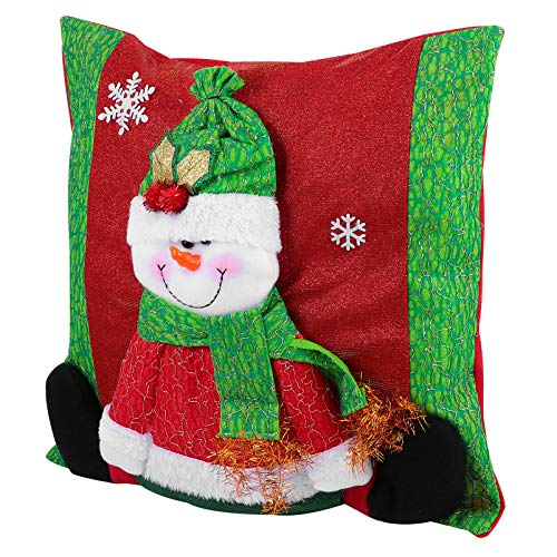 jojofuny Funda de Almohada de Navidad Funda de Cojín de Navidad con Figurita de Muñeco de Nieve Fiesta de Invierno Almohada Personalizada Funda de Almohada con Cremallera Decoración para