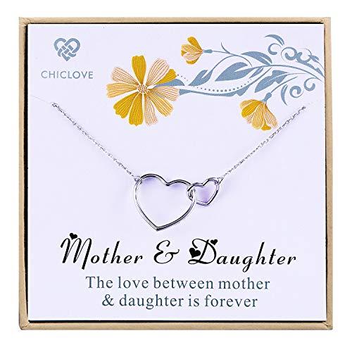 CHICLOVE Regalo para mamá - Collar de Madre e Hija con Corazones entrelazados de Plata de Ley 925, Regalos para el día de la Madre