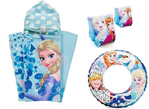 Coriex - Kit n 12 Accessori Mare (Poncho Asciugamani + braccioli + Ciambella) (Frozen)