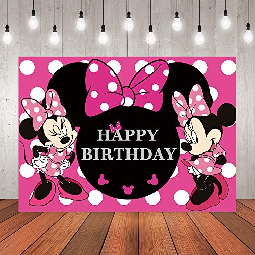 7x5ft Minnie Mouse Backdrop Mickey Princess Girl Birthday Backdrops for Photography Pink Bow Minnie Mouse Girls Birthday Backdrop for Party Decoration