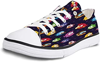 VCERTHDF Print Trendy Rainbow Colorful Paw Prints Low Top Canvas Sneakers