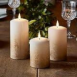 Lights4fun 3er Set TruGlow® LED Echtwachskerzen Bronze Ombre Kerzen mit warmweißer LED Flamme...