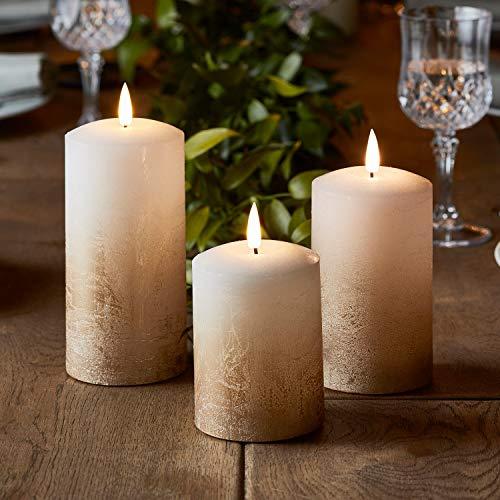 Lights4fun 3er Set TruGlow® LED Echtwachskerzen Bronze Ombre Kerzen mit warmweißer LED Flamme Timer batteriebetrieben