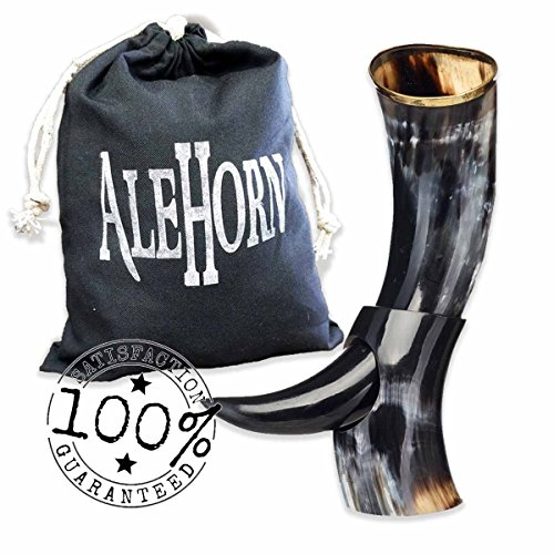 Alehorn - Genuine Drinking Horn - Polished Finish - Medieval Viking Norse Beer Mug - Game of Thrones Cup Goblet for Beer, Mead, Ale - Waterproof Interior - Curved Style (12', Polished Horn)