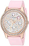 GUESS Women's Stainless Steel Analog Watch with Silicone Strap, Pink, 16 (Model: GW0006L2)