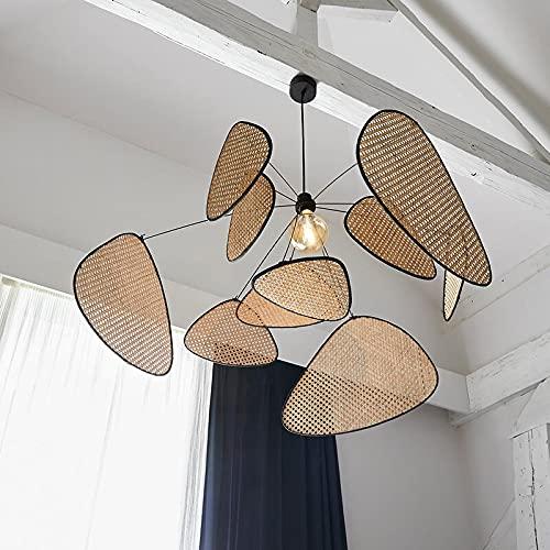 RR&LL Lámpara de araña de ratán japonesa creativa, iluminación de techo nórdico simple y moderna iluminación interior cafetería té bar restaurante club