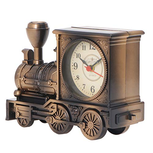 YARNOW Vintage Retro Train Style Students Alarm Clock Table Desk Time Clock Cool Train Model Home Office Shelf Decoration Novelty Birthday Holiday Children Adults Boys Gift Brown (Bronze)