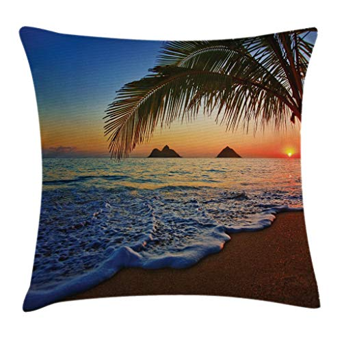 Ambesonne Hawaiian Throw Pillow Cushion Cover, Pacific Sunrise at Lanikai Beach Hawaii Colorful Sky Wavy Ocean Surface Scene, Decorative Square Accent Pillow Case, 16' X 16', Blue Ivory