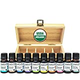 PURA D'OR Perfect 10 Essential Oil Wood Box Set 10mL USDA Organic 100% Pure Therapeutic Grade (Tea...