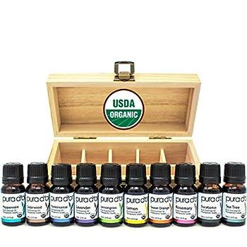 PURA D'OR Perfect 10 Essential Oil Wood Box Set 10mL USDA Organic 100% Pure Therapeutic Grade  Tea Tree-Lemon-Lavender-Sweet Orange-Rosemary-Lemongrass-Frankincense-Peppermint-Eucalyptus-Cedarwood