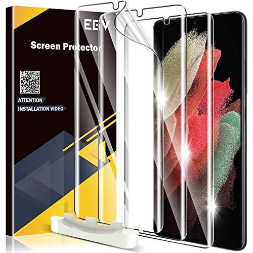 EGV 3 Stück Schutzfolie für Samsung Galaxy S21, mit 1 Stück Null Fehler Positionierhilfe, Klar HD Weich TPU Folie