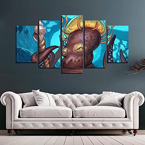 VYQDTNR - 5 Piezas de Arte de la Pared de la Lona Octopus Overloard Imagen de la Pintura del Cartel para la Oficina de la Sala de Estar Decoración del Dormitorio, Decoración del Hogar.