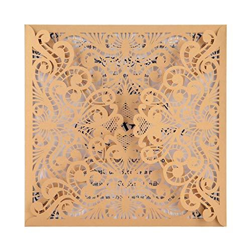 Detrade 10 Stücke Europäischen Hohlspitze Muster Durchbrochene Hochzeitseinladung Kreative Geburtstagskarte Einladung (Beige)