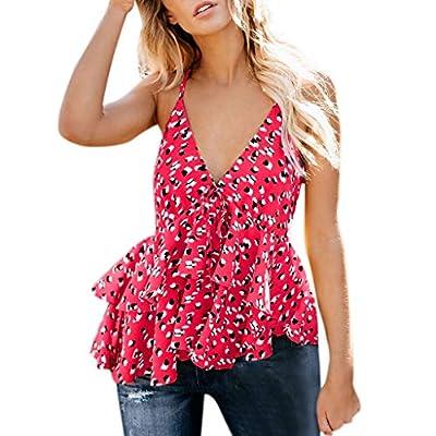 RAINED-Women Strappy Ruffles Shirt V-Neck Backless Printed Casual Tank Tops Scalloped Peplum Cami Top Blouse Beachwear