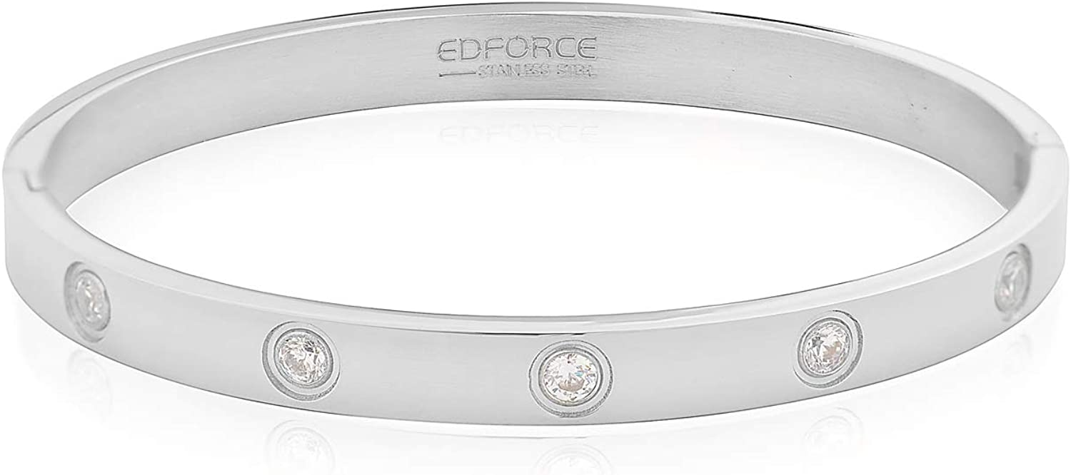 My Daily Styles Stainless Steel Womens Hinged CZ Bangle Bracelet Size 7.5 Inches