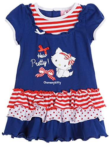 Robe manches courtes bébé fille Charmmy kitty Rose et Marine 6 à 23mois (12 mois, Marine)
