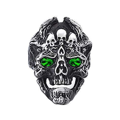 EzzySo Diablo Dragon Head Ring Skull Anillo, Joyería de Anillo de aleación de aleación Dominio de Zircon Estadounidense (2 PCS),13