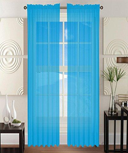 Eleganten Komfort 2-teilig Sheer Fenster Gardine/Panel mit 5,1cm Schienenband–Fenster Behandlung, alle Größen und vielen Farben erhältlich, Polyester, Türkis, 60