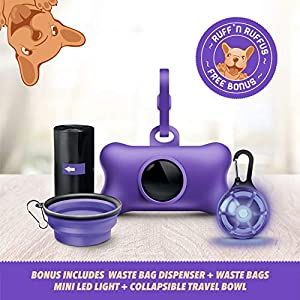 Ruff 'N Ruffus 360° Tangle-Free 16 ft Retractable Dog Leash For Pets Up To 110 lbs + FREE Travel Bowl + FREE Waste Bag Dispenser & 15 Bags + FREE LED Charm   Reflective Tape Easy Lock Anti Slip Handle