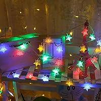 イルミネーションライトカーテンライト屋内屋外使用可能 ガーデンライト防水 種類の切替モード リモコン付き クリスマス/結婚式/誕生日/パーティー/広場/街路樹装飾スターライト,カラースター-6メートル40ライトUSB