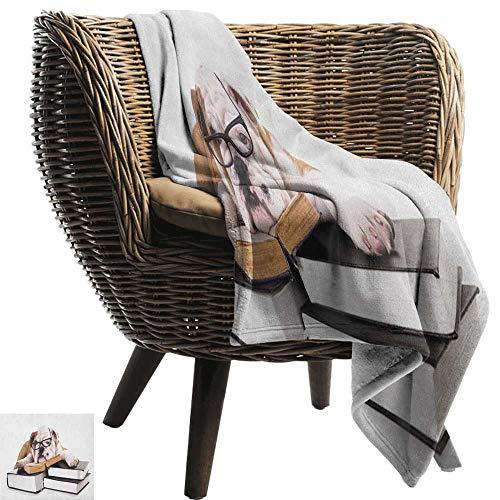 ZSUO donzen deken Engels Bulldog,Happy Pet Bulldog Het houden van een Union Jack Vlag van de Groot-Brittannië Crème Navy Blauw Rood Gooi Lichtgewicht Cozy Pluche Microvezel Effen Deken