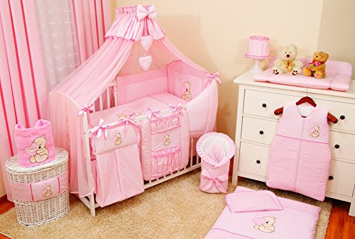 Conjunto de ropa de cama para cuna de bebé, 100% algodón, conjunto completo XXL de 10piezas, diseño bordado de osito, incluye mosquitera rosa Rose Talla:120x60cm