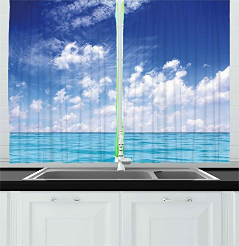 Ambesonne Ocean Kitchen Curtains, Clear Blue Sky and Seascape Clouds Summer Season Tranquility Sunny Scenery, Window Drapes 2 Panel Set for Kitchen Cafe Decor, 55