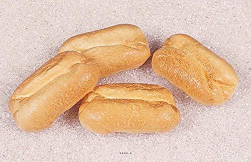 Artif-déco-mag.com - Petit pain blanc artificiel en lot de 4 Plastique soufflé L 100x60 mm
