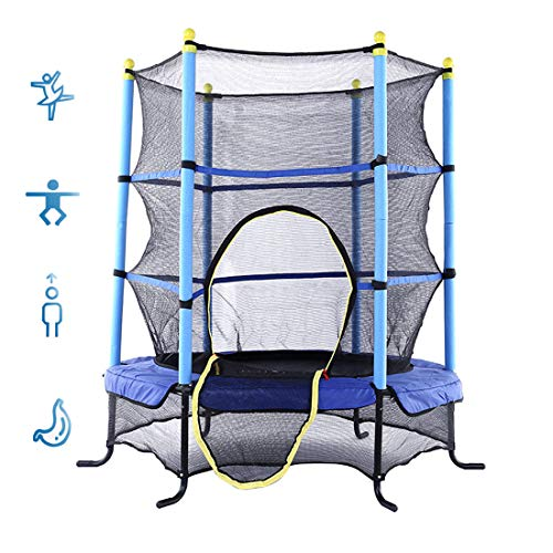 LXXTI Trampoline with Net for Kids, 4.5 Ft Kids Trampoline with Safety Net Enclosure And All Accessories, Weight Capacity 100Kg, for Kids Indoor/Outdoor Toy Great Gift