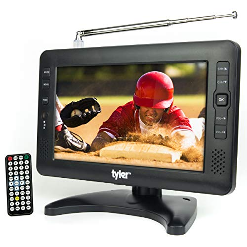 """Tyler 9"""" Portable TV LCD Monitor Rechargeable Battery Powered Wireless Capability HD-TV, USB, SD Card, AC/DC, Remote Control Built in Stand Small for Car Kids Travel"""
