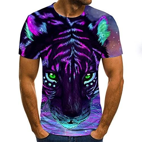 SSBZYES Camiseta De Verano para Hombre Camiseta De Manga Corta Camiseta con Estampado De Cuello Redondo Camiseta con Estampado De Tigre De Ojo Azul Camiseta De Manga Corta De Gran Tamaño Camiseta Top
