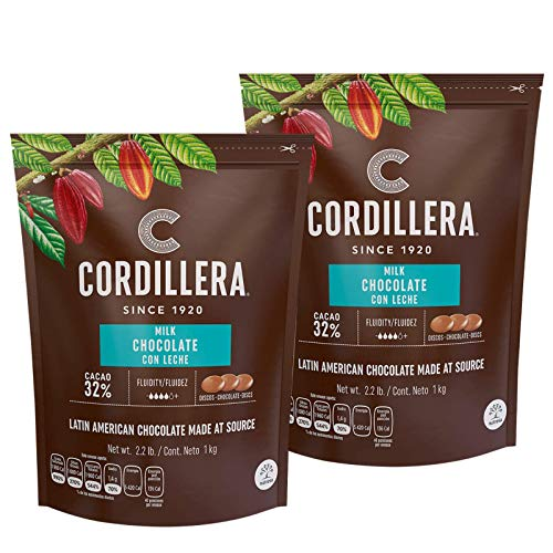 Cordillera   Milk Chocolate Couverture   Cacao 32%   2.2 Lb, Pack of 2   Latin America Chocolate  ...